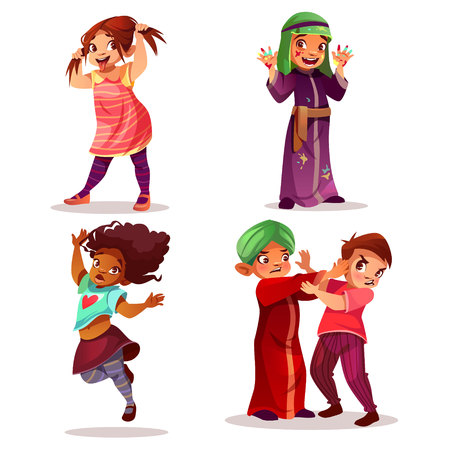 Naughty children vector illustration of kids mischief and misbehavior. Cartoon black Afro-Amercian make face or Saudi Arabian girl in paint stains and Indian boy fighting or beating friend