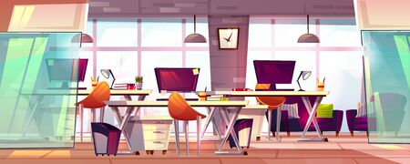 Office workspace vector illustration or coworking business open workplace interior. Cartoon modern furniture with computer tables, chairs and stationery, empty loft meeting room with glass windows Foto de archivo - 132384115