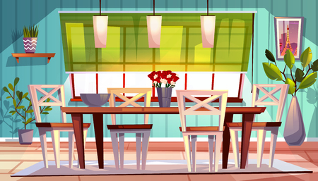 Dining room interior vector illustration of modern or retro apartment or summer terrace with wooden furniture, kitchen table and chairs with picture and flowers on window. Cartoon background