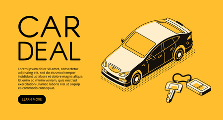 Car trade deal vector illustration of automotive sell and buy service agency or dealer company. Automobile and key on keychain isometric black thin line web design on yellow halftone background Standard-Bild - 111608185