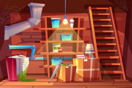 Vektorkellerinnenraum, Lagerung von Kleidung im Keller im Cartoon-Stil. Abstellraum mit Regalen, Möbeln, Rohrleitung. Beleuchtet durch das Licht der Glühbirne. Architekturhintergrund des Lagerhauses