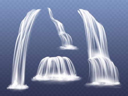 Illustrazione vettoriale di cascata o cascata d'acqua. Insieme realistico isolato di corsi d'acqua che cadono dalle rocce di montagna con schizzi e schizzi su sfondo trasparente Vettoriali