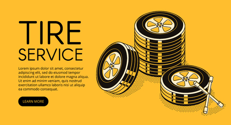 Car tire service vector illustration for automotive repair station advertisement for pumping and replacement. Mechanic garage auto store isometric black thin line design on yellow halftone background
