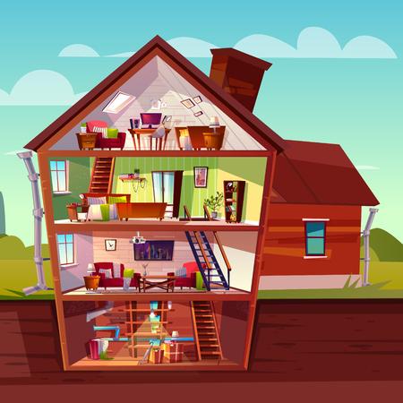 Vector dreistöckiges Haus im Querschnitt mit Keller, mehrstöckiges Privatgebäude der Karikatur. Dachboden, Möbel im Wohnzimmer, Sofa, TV und Abstellraum im Keller. Architektur-Hintergrund.