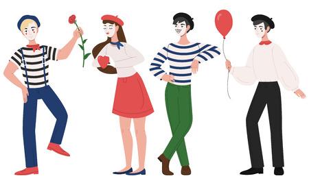 Ilustración de vector de pantomima de hombre y mujer de mimos. Personajes de niña y niño de payaso de dibujos animados en traje y sombrero con mascarilla y pose de imitación divertida para flor, globo y corazón Ilustración de vector