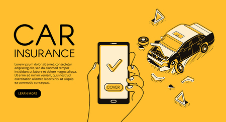 Car insurance service vector illustration of vehicle accident crash and driver recovery assistance on smartphone mobile application. Isometric black thin line web banner on yellow halftone background
