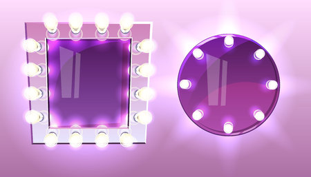 Makeup square and round mirrors with lamps bulb vector illustration of modern silver frame with realistic light illumination for actor or singer and beauty fashion studio on purple or pink background. Stockfoto