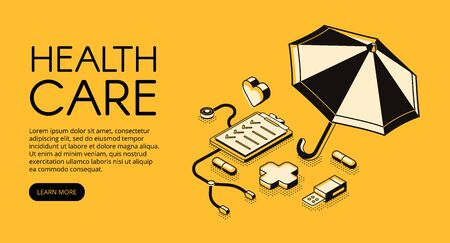 Healthcare medical vector illustration for clinic or hospital service. Doctor stethoscope, medicine pills and pharmacy cross in isometric black thin line design on yellow halftone background Foto de archivo - 132384119