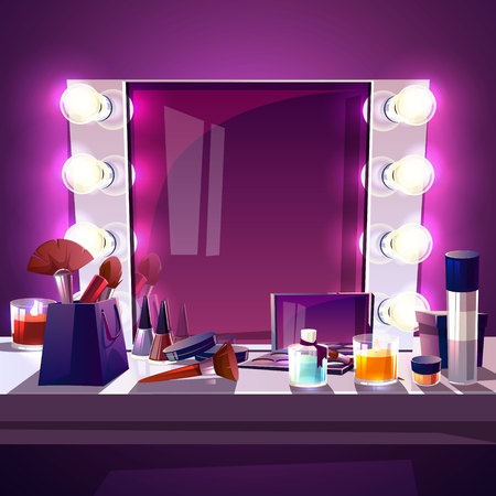 Makeup square mirror with lamps bulb, cartoon vector illustration modern silver frame with realistic light illumination for actor and beauty fashion studio. Dressing table with accessories for make-up Illustration