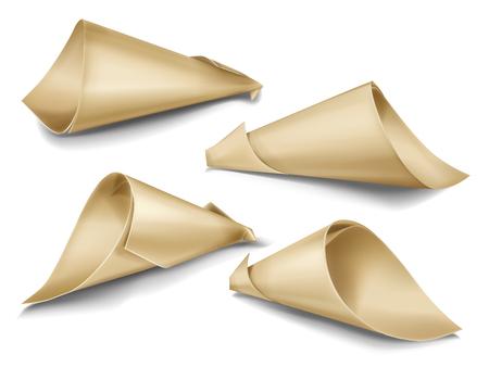 Ensemble réaliste de vecteur de sacs de cône en papier. Emballages faits à la main pour collations, nourriture de rue, cadeaux et souvenirs, fleurs et confettis festifs tordus à partir de papier kraft