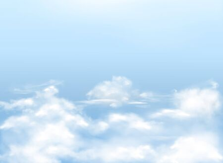 Light blue sky with white clouds, realistic vector background, natural banner with heavens. Template for Christian postcards, religious illustrations Foto de archivo - 132384137