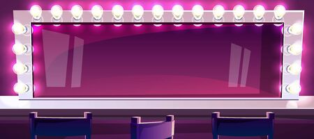 Makeup mirror with lamps vector illustration of actor or singer beauty fashion studio room with chairs. Horizontal retro white frame with light bulbs illumination and reflection on purple background