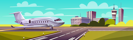 Vector cartoon illustration, gray airliner, jet on runway. Takeoff or landing of commercial airplane against background of blue sky or airport building with control tower. Concept advertising banner Illustration