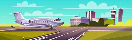 Vector cartoon illustration, gray airliner, jet on runway. Takeoff or landing of commercial airplane against background of blue sky or airport building with control tower. Concept advertising banner Stock Photo