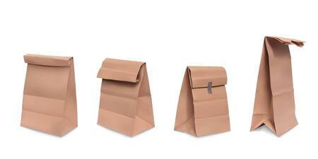 Paper bag, set of vector realistic illustrations brown paper grocery bags for meal, packaging for fast food, snacks, front and side view isolated on white background Foto de archivo - 132384141