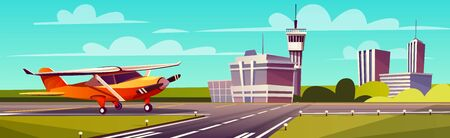 Vector cartoon illustration, yellow light aircraft on runway. Takeoff or landing of airplane against background of blue sky or airport building with control tower. Concept of advertising banner
