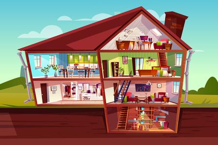 Ilustración de vector de sección transversal de la casa de interiores y muebles. Plano de planta de mansión privada de dibujos animados de ático, sala de estar o apartamentos de dormitorio con cocina, pasillo y bodega