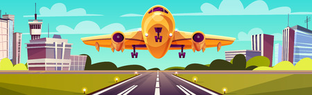 Vector cartoon illustration, yellow airliner, jet over runway. Takeoff or landing of commercial airplane against background of blue sky or airport building with control tower. Concept advertising banner