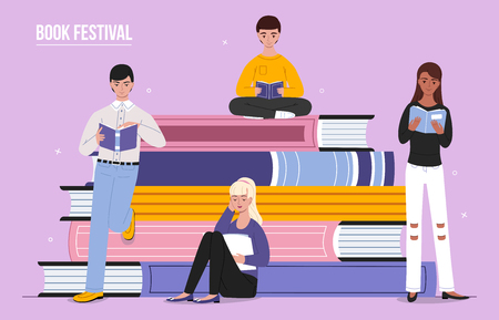 Book festival poster vector illustration of students girls and boys reading, leaning and sitting on big books. Flat cartoon design for library fair or education study
