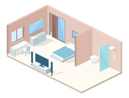 Bedroom or hotel room interior in cross section vector illustration. Modern minimalistic comfortable design of bed and toilet and shower with furniture, blanket on bed, table and chair with TV set Foto de archivo - 132384145
