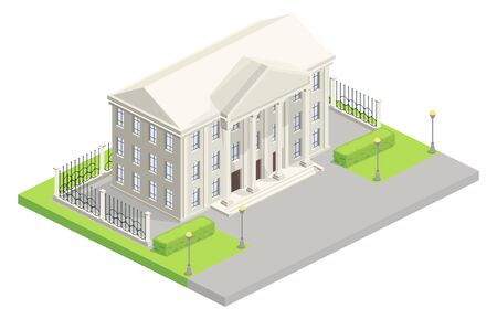 City hall or parliament house building isometric vector illustration. Isolated modern architecture with classic white facade design of bank or court with fence Foto de archivo - 132384146