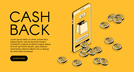 Cashback shopping vector illustration, money cash back reward for purchase from smartphone application. Mobile phone consumer loyalty incentive commerce in isometric line on yellow halftone background Vector Illustratie