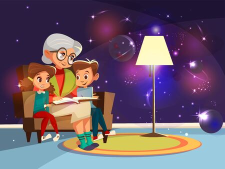 cartoon grandmother reading astrophysics, cosmos space science book boy girl sitting armchair. Illustration elderly parent background home interior ,planets stars galaxy on wall imagined by kid Foto de archivo - 132539841