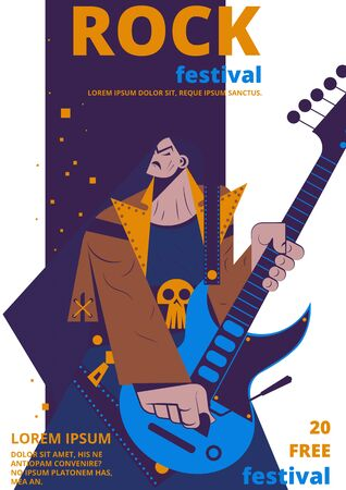 Rock music festival poster illustration. Rocker concert placard or entry ticket flat cartoon design template of man with electric guitar and skull symbol playing rock for festival advertisement Stock Photo