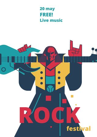 Rock music live festival poster illustration for concert placard or entry ticket, advertisiement flyer. Flat cartoon design template rocker man with electric guitar and devil horns hand gesture Foto de archivo - 132206659