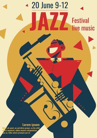 Jazz music festival poster illustration. Jazz club band concert placard flat retro or modern design template of black jazzman man playing saxophone for jazz festival advertisement Foto de archivo - 132206667