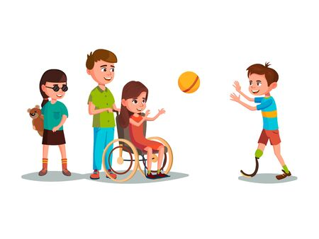 cartoon disabled teen kids characters with restriction of movement playing using medical equipment set. Girl in wheelchair playing boy with leg prosthesis, blind female character with bear toy. Foto de archivo - 132206672