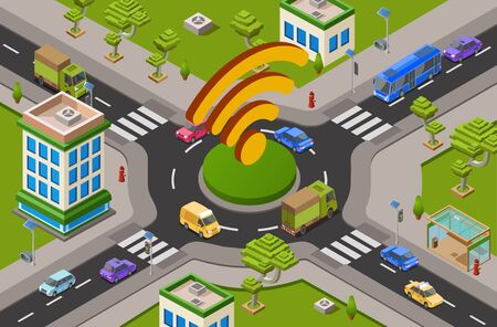 Smart city transport and wifi technology isometric 3D illustration of urban traffic crossroad and wifi icon. Isometric cars, public transport or buildings and wireless smart technology Banco de Imagens