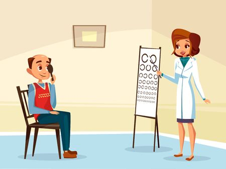 cartoon woman doctor ophtalmologist doing eyesight test to adult man patient. Female optometristh caracter in medical uniform, vision examination consultation. Eye healthcare concept Banco de Imagens