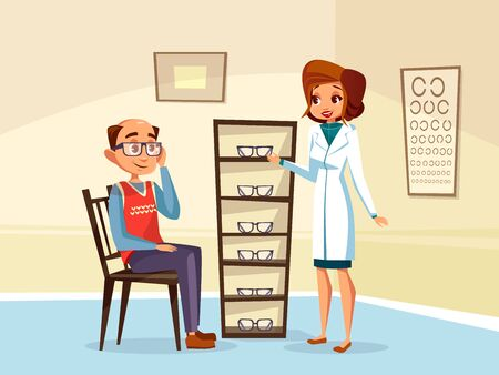 cartoon woman doctor ophthalmologist helps adult man patient with diopters glasses selection. Female optometristh caracter in medical uniform vision consultation. Eye healthcare concept Foto de archivo - 132206691