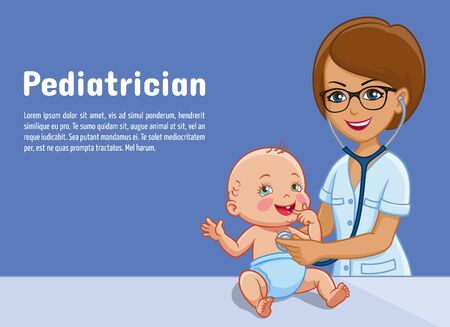 Pediatrician and child baby cartoon illustration for pediatrics medicine or pediatry center. Flat design of pediatrician doctor woman doctor examining infant child with stethoscope Foto de archivo - 132206694