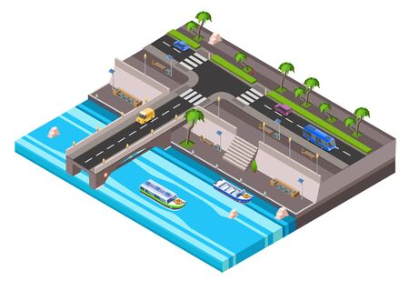isometric riverside embankment with car roadway with vehicle bus traffic, sidewalk transport bridge with boat river channel. City 3d transportation infrastructure, urban landscape illustration Stockfoto