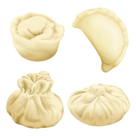 realistic dumplings set. Vareniki pierogi khinkali xiao long bao baozi momo ravioli. Stuffed pork meat dough vegetable. 3d illustration national ukrainian belorussian asian cuisine Banque d'images - 110192927