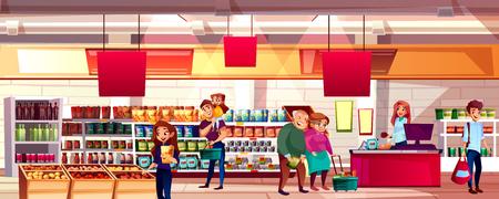 Personas en la ilustración de vector de supermercado o tienda de abarrotes. Familia eligiendo productos alimenticios en los estantes para bolsas de compras o carritos, fondo de dibujos animados con el cajero en el mostrador de la caja