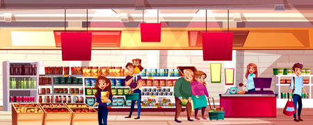 People in supermarket or grocery store vector illustration. Family choosing food products on shelves to shopping bags or carts, cartoon background with cashier at checkout counter