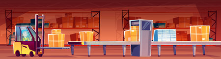 Warehouse worker in forklift loader put parcels on conveyor belt vector illustration. Cartoon post mail storehouse logistics, man in truck loading carton boxes form shelves Stock fotó