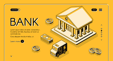 Bank and money isometric thin line vector illustration of dollar money and cash CIT van. Business and banking finance halftone design dollar and coins on yellow background