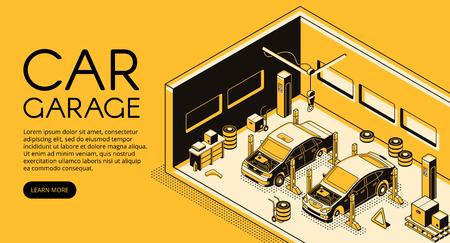 Auto garage auto reparatie monteur station vectorillustratie in isometrische zwarte dunne lijn ontwerp op gele halftone achtergrond. Automotive diagnostische service, autolift en bandenvervangingstools