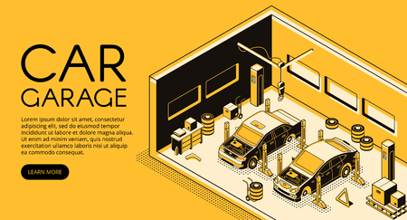 Car garage auto repair mechanic station vector illustration in isometric black thin line design on yellow halftone background. Automotive diagnostic service, car lift and tire replacement tools