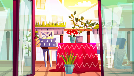 Balcony with table and chairs vector illustration of home terrace from apartments with balcony garden, view on street houses. Cartoon comfortable vintage cozy flat background