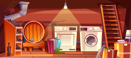Cellar or house basement interior vector illustration of wine vault with barrel and bottles on shelf. Laundry dryer and washing machine with clothes in basket at wooden staircase on cartoon background