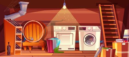 Innenvektorillustration des Keller- oder Hauskellers des Weingewölbes mit Fass und Flaschen auf Regal. Wäschetrockner und Waschmaschine mit Kleidung im Korb an der Holztreppe auf Karikaturhintergrund