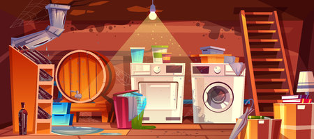 Cellar with leakage flood and black mould on walls vector illustration. House basement or wine vault with barrel, bottles or laundry dryer and washing machine, cartoon dirty shabby interior background Ilustrace