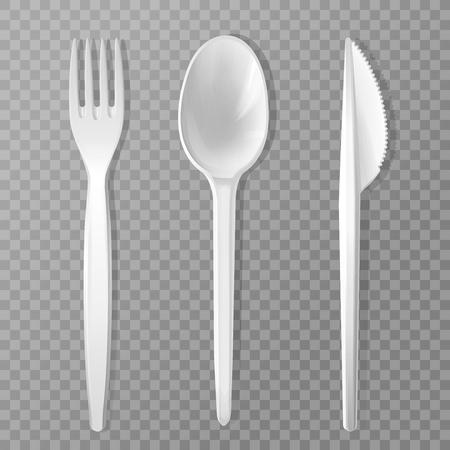 disposable fork, knife and spoon. Realistic plastic kitchen utensil, serving set. Flatware mockup for picnic lunch, restaurant, cafe menu design. 3d cutlery, kitchenware illustration isolated. 写真素材