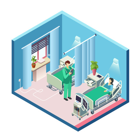 isometric modern hospital room, ward section with female patient in bed, male doctor standing holding clipboard and medical reanimation equipment. 3d cross illustration clinic interior design