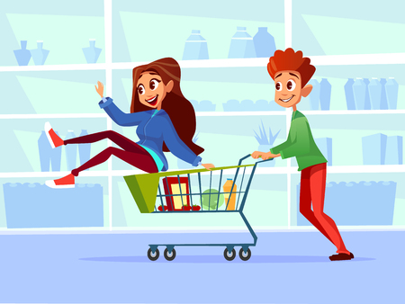 Couple riding supermarket shopping cart illustration. Flat cartoon design of young man and woman or girl and boy ride in grocery shop cart and smile or laugh among supermarket shelf